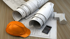3d illustration of  Blueprints, house model and construction equipment Royalty Free Stock Photography