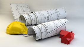 3d illustration of  Blueprints, house model and construction equipment. On architect working table.Construction Concept Royalty Free Stock Photo