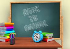 3d back to school. 3d illustration of board with back to school text and alarm clock Royalty Free Stock Photos