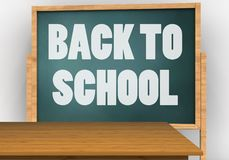 3d blank. 3d illustration of board with back to school text and Royalty Free Stock Image