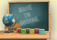 3d blank. 3d illustration of board with back to school text and letters cubes Stock Photo