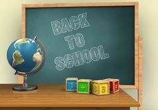 3d back to school. 3d illustration of board with back to school text and math cubes Royalty Free Stock Image