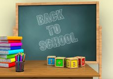 3d desktop. 3d illustration of board with back to school text and math cubes Stock Photos