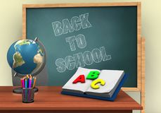3d illustration of board with back to school text and opened textbook Royalty Free Stock Photography