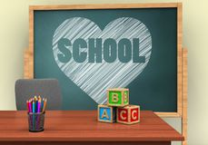 3d heart and school. 3d illustration of board with heart and school text and abc cubes Royalty Free Stock Photos