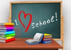 3d books. 3d illustration of board with love school text and books Stock Photos