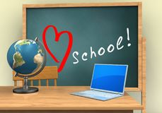 3d love school. 3d illustration of board with love school text and computer Royalty Free Stock Image