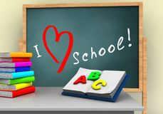 3d white desk. 3d illustration of board with love school text and opened textbook Royalty Free Stock Images