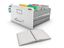 3d Illustration of book beside the open drawer with books.  Stock Photos