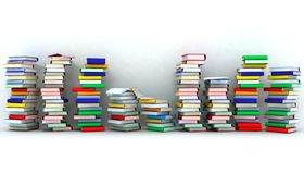 Books piles and wall Royalty Free Stock Photography
