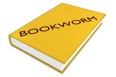 Bookworm literary concept. 3D illustration of BOOKWORM script on a book, isolated on white Royalty Free Stock Image