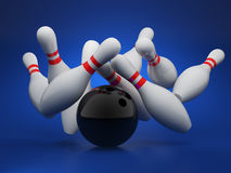 Bowling strike concept. 3d illustration of bowling strike concept on blue background Stock Image