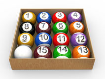 3d box of billiard pool balls. 3d illustration of box of billiard pool snooker balls Stock Images