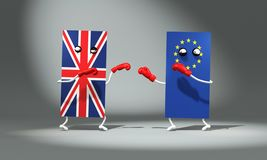3d illustration. Boxing fight between the flags of Great Britain and Europe. 3d funny modeling vector illustration