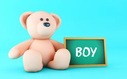 3d Teddy bear and Boy text. 3d illustration. Boy message written on blackboard with pink teddy bear Royalty Free Stock Photography