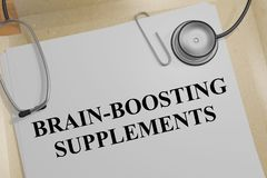 BRAIN-BOOSTING SUPPLEMENTS concept. 3D illustration of BRAIN-BOOSTING SUPPLEMENTS title on a medical document Stock Image