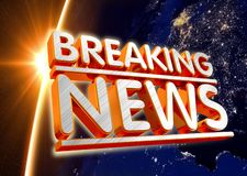 3D illustration breaking news live on business technology news background3D illustration breaking news live on world map backgroun stock illustration