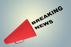 BREAKING NEWS concept. 3D illustration of BREAKING NEWS title flowing from a loudspeaker Stock Photography