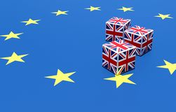 3D ILLUSTRATION of brexit concept of instability and gambling, made by dices of UK flag upon Europe flag. Deal or no deal stock illustration