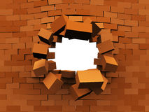 Wall demolition. 3d illustration of brick wall demolition, over white background Stock Images