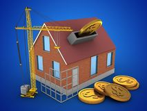 3d construction site. 3d illustration of bricks house over blue background with coins and construction site Stock Photography