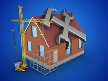 3d repair symbol. 3d illustration of bricks house over blue background with repair symbol and construction site Stock Photos