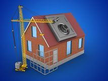 3d construction site. 3d illustration of bricks house over blue background with safe and construction site Royalty Free Stock Photography