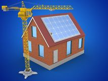 3d bricks house. 3d illustration of bricks house over blue background with solar panel and crane Royalty Free Stock Photography