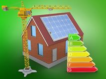 3d bricks house. 3d illustration of bricks house over green background with clean energy and crane Royalty Free Stock Images