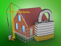 3d padlock. 3d illustration of bricks house over green background with padlock and construction site Stock Image