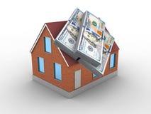 3d bricks house. 3d illustration of bricks house over white background with money Stock Photo
