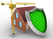 3d shield. 3d illustration of bricks house over white background with shield and crane Royalty Free Stock Image