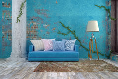 3D Illustration of bright blue sofa near blue vintage wall. Bright blue sofa in bright empty room Stock Image