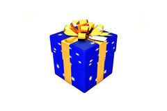 3d illustration: Bright dark blue gift box with star, golden metal ribbon / bow and tag on a white background isolated. Stock Photography