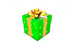 3d illustration: Bright green gift box with star, golden metal ribbon / bow and tag on a white background isolated. Royalty Free Stock Photography