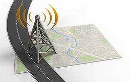 3d antenna. 3d illustration of bright map with antenna and Stock Photos