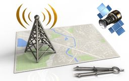3d blank. 3d illustration of bright map with antenna and gps satellite Stock Photography
