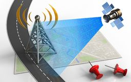 3d road. 3d illustration of bright map with antenna and red pins Royalty Free Stock Photography