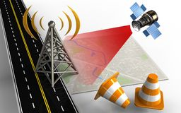 3d repair cones. 3d illustration of bright map with antenna and repair cones Royalty Free Stock Image