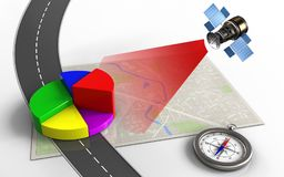 3d compass. 3d illustration of bright map with business data and compass Royalty Free Stock Photo
