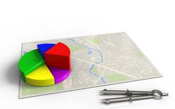 3d bright map. 3d illustration of bright map with business data and Stock Photos