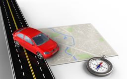 3d blank. 3d illustration of bright map with car and compass Stock Photo