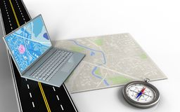 3d computer. 3d illustration of bright map with computer and compass royalty free illustration