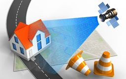 3d house. 3d illustration of bright map with house and repair cones royalty free illustration
