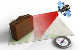 3d compass. 3d illustration of bright map with luggage and satellite stock illustration