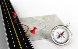 3d compass. 3d illustration of bright map with pins and route and compass royalty free illustration