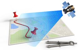 3d blank. 3d illustration of bright map with pins and route and satellite digital signal stock illustration