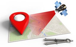 3d blank. 3d illustration of bright map with point icon and satellite Stock Images