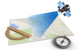 3d protractor. 3d illustration of bright map with protractor and satellite vector illustration