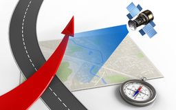 3d road. 3d illustration of bright map with red arrow and compass royalty free illustration